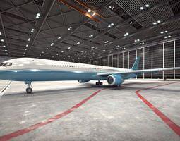 White And Blue Passenger Plane 3D model