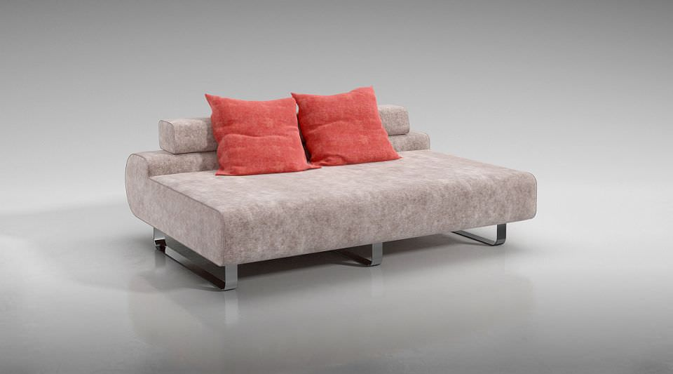 Decorative Pillows For Red Sofa : Modern Low Back Sofa With Red Throw Pillows 3D Model OBJ CGTrader.com