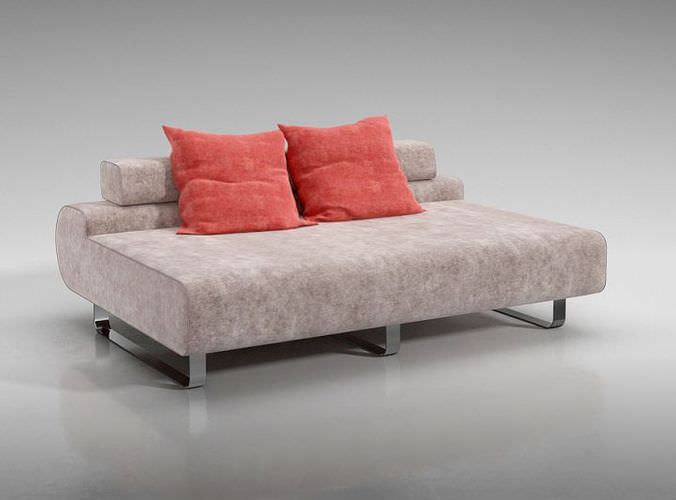 Modern Low Sofa : Modern Low Back Sofa With Red Throw Pillows 3D Model- CGTrader.com