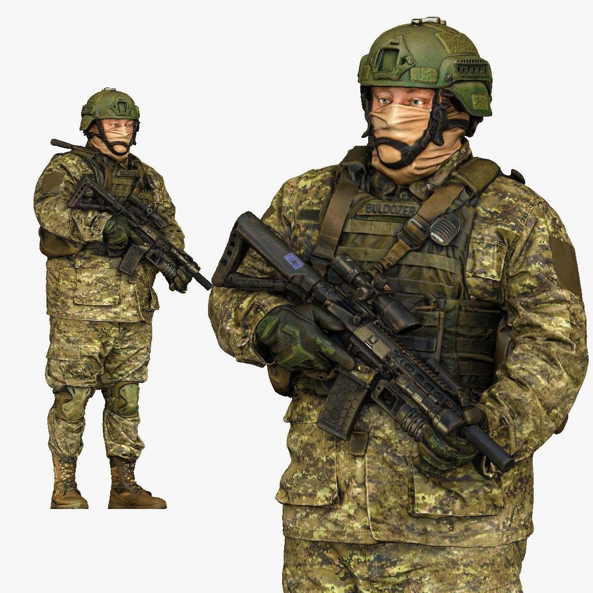 modern soldier in camouflage honeybadger 001149