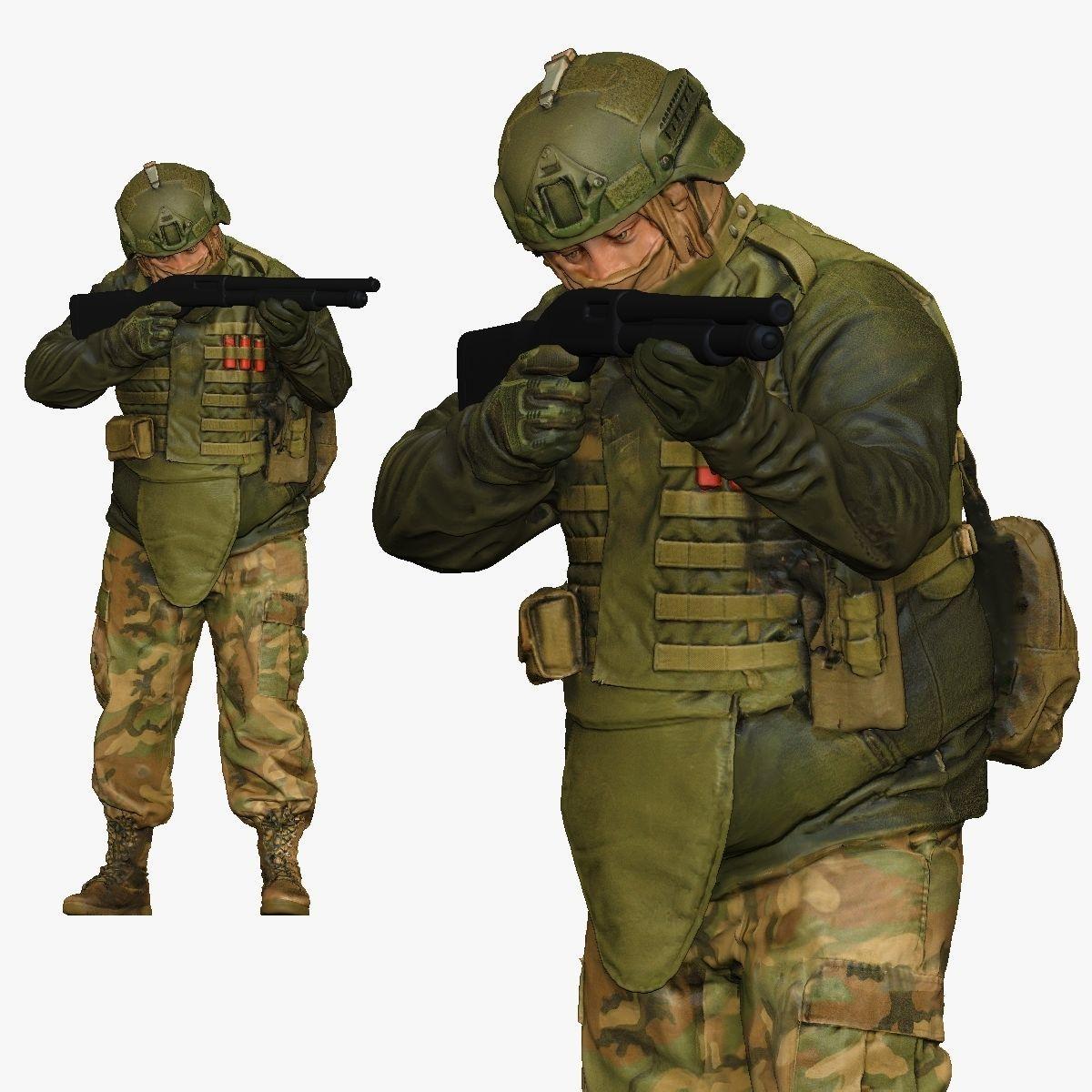 modern soldier aiming with pumpshotgun 001150 3D Print Ready
