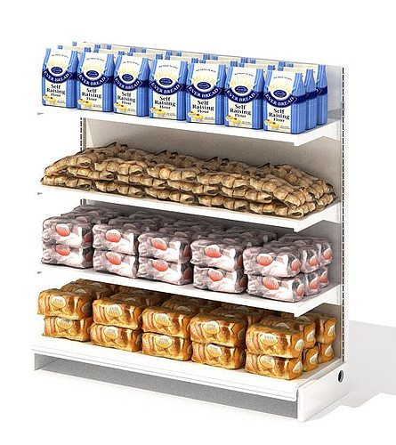grocery store shelf with baking goods 3d model obj mtl 1