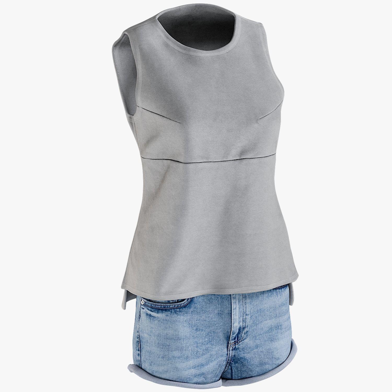 Womens Jean Shorts Tshirt 8