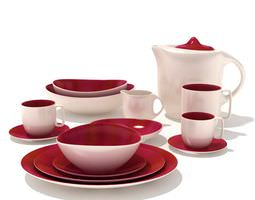 Red And Cream Kitchenware Set 3D