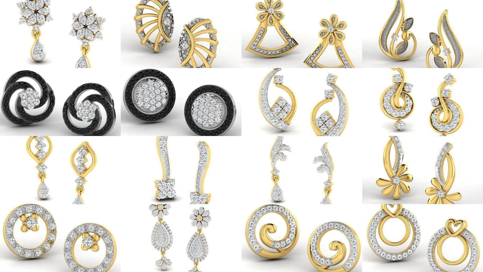 100 Women earrings 3dm render detail