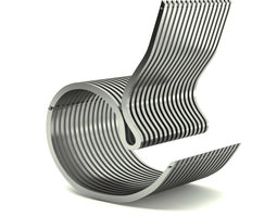 contemporary steel armchair 3d model max obj