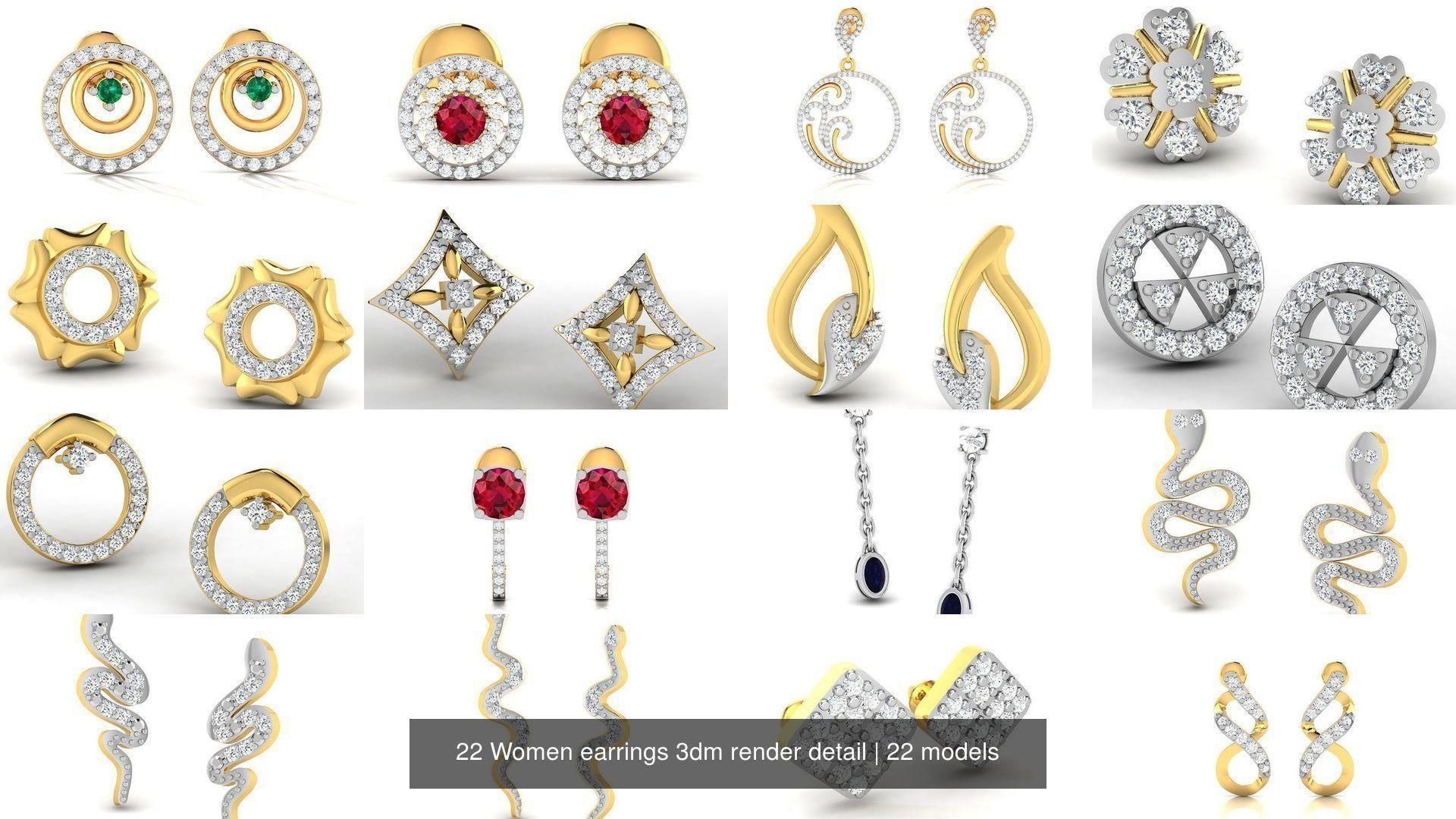 22 Women earrings 3dm render detail