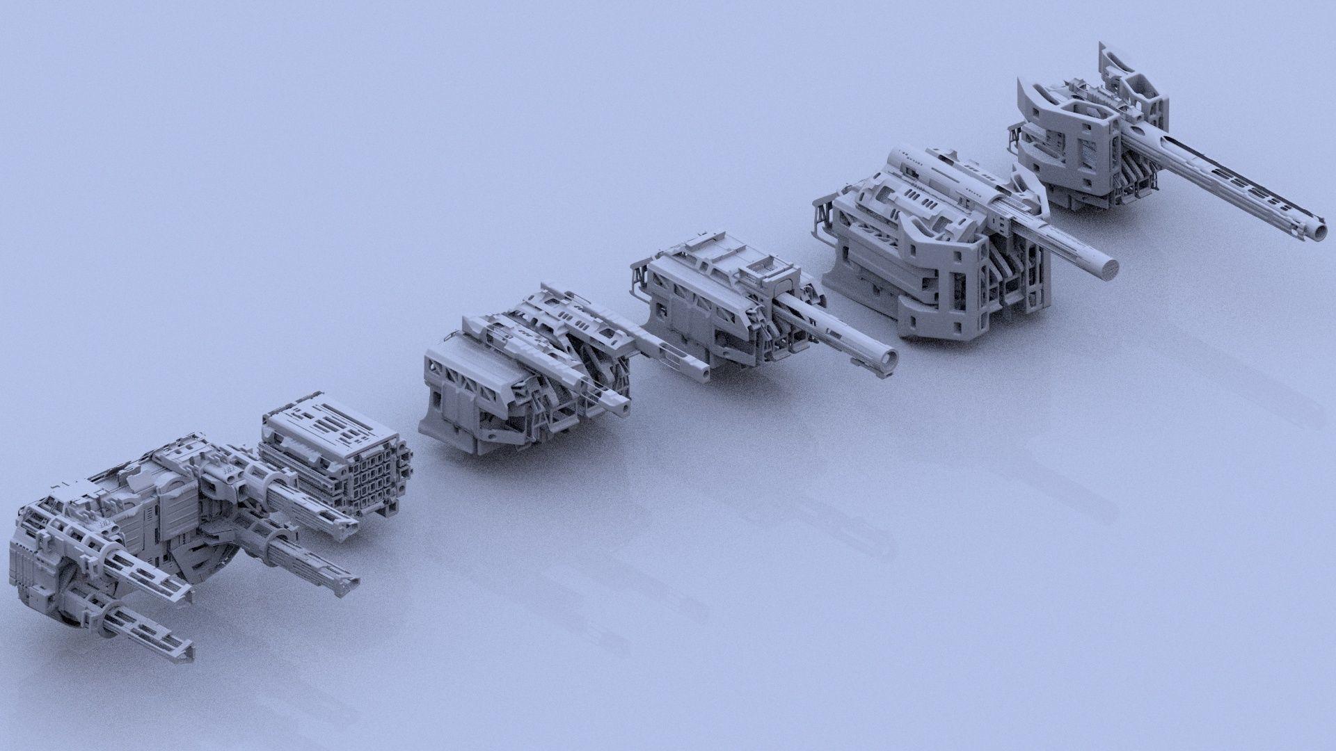 Sci-Fi Gunner Gun Turret Spaceship Military Ship Pack