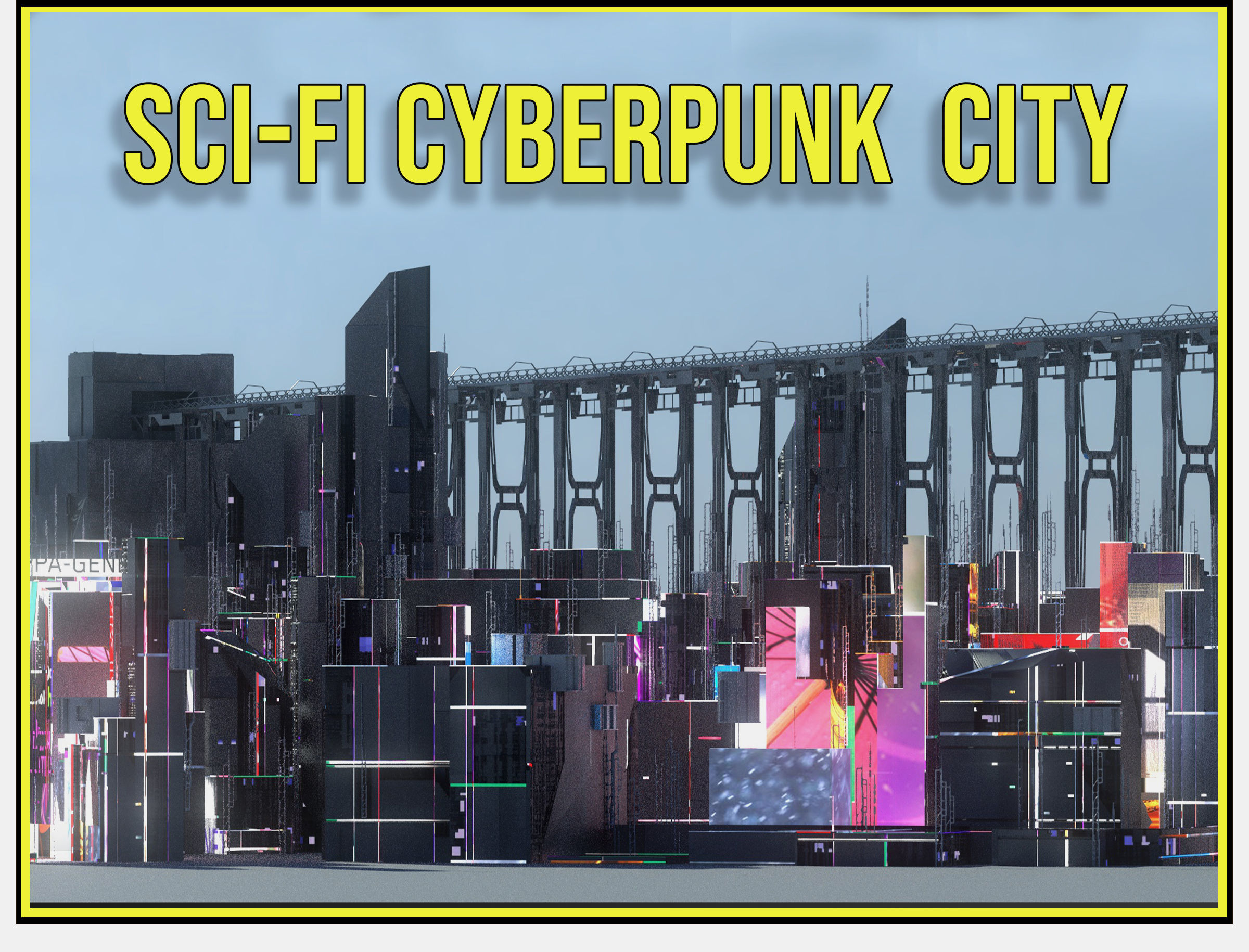 Sci Fi Cyberpunk City Buildings Futuristic