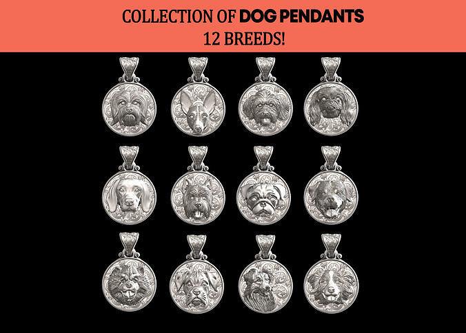 DOG PENDATS COLLECTION BEST FRIEND 12 BREEDS 3D PRINTBLE