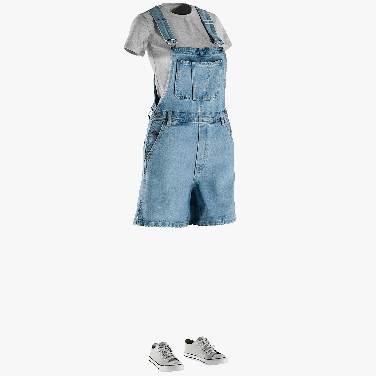 Womens Jean with Overall Tshirt Shoes 1