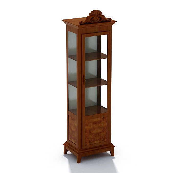 Wood And Glass Display Case Cabinet 3D Model