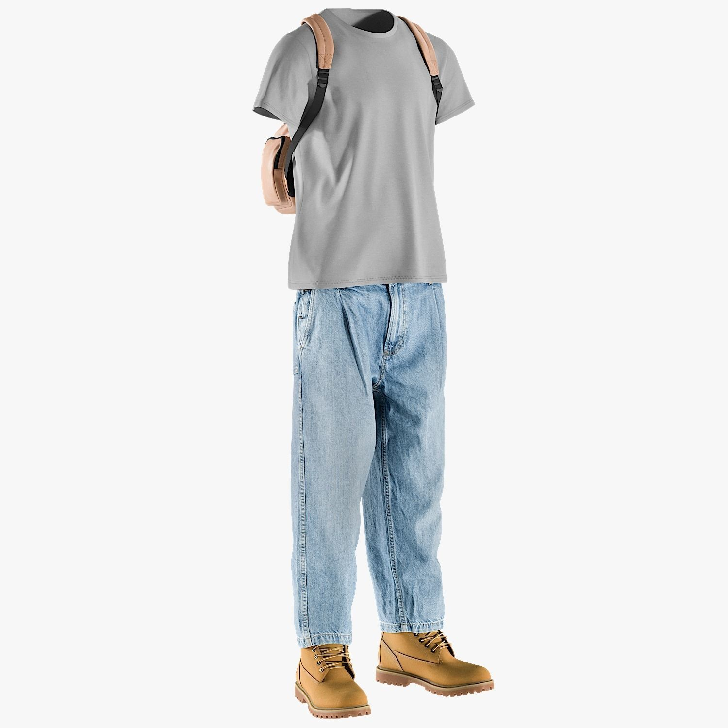 Mens Jeans with Tshirt Boots Backpack 10