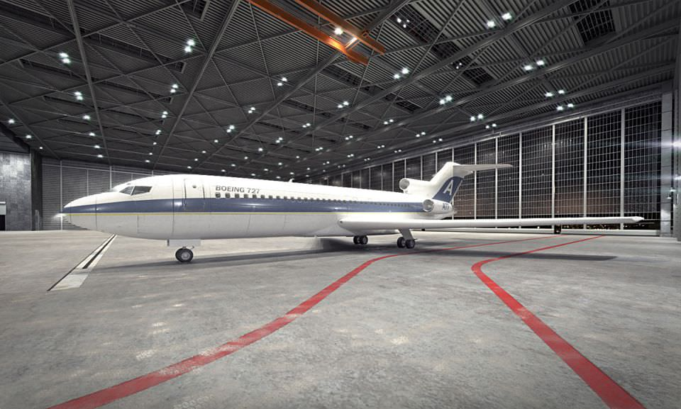 Boeing Parked In Hangar D Model Db F A Cf B D Ce F Dc D on Boeing 727 Model Airplane