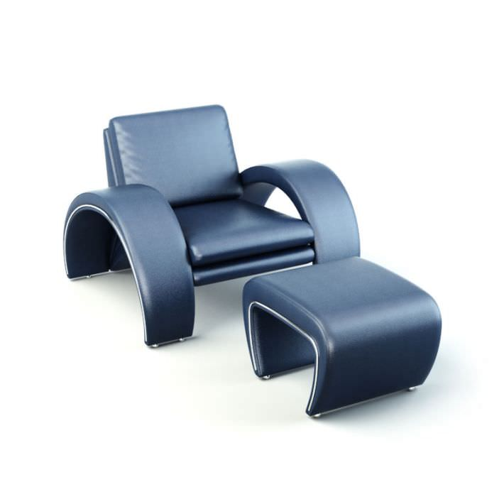 Futuristic Blue Leather Chair With Ottoman 3d Model