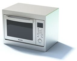 New White Compact Microwave Oven 3D model