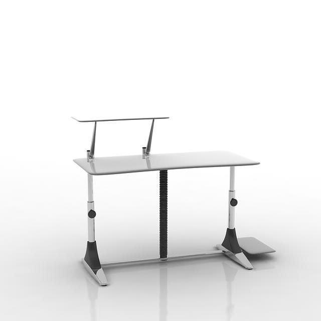 White Modern puter Desk 3D Model CGTrader