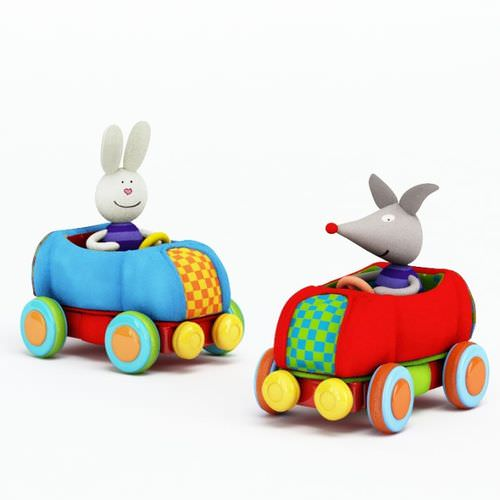 Colorful Children s Stuffed Toy Car3D model