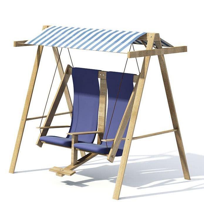 Wooden blue garden swing rocker chair 3d model cgtradercom for Wooden garden swing chair