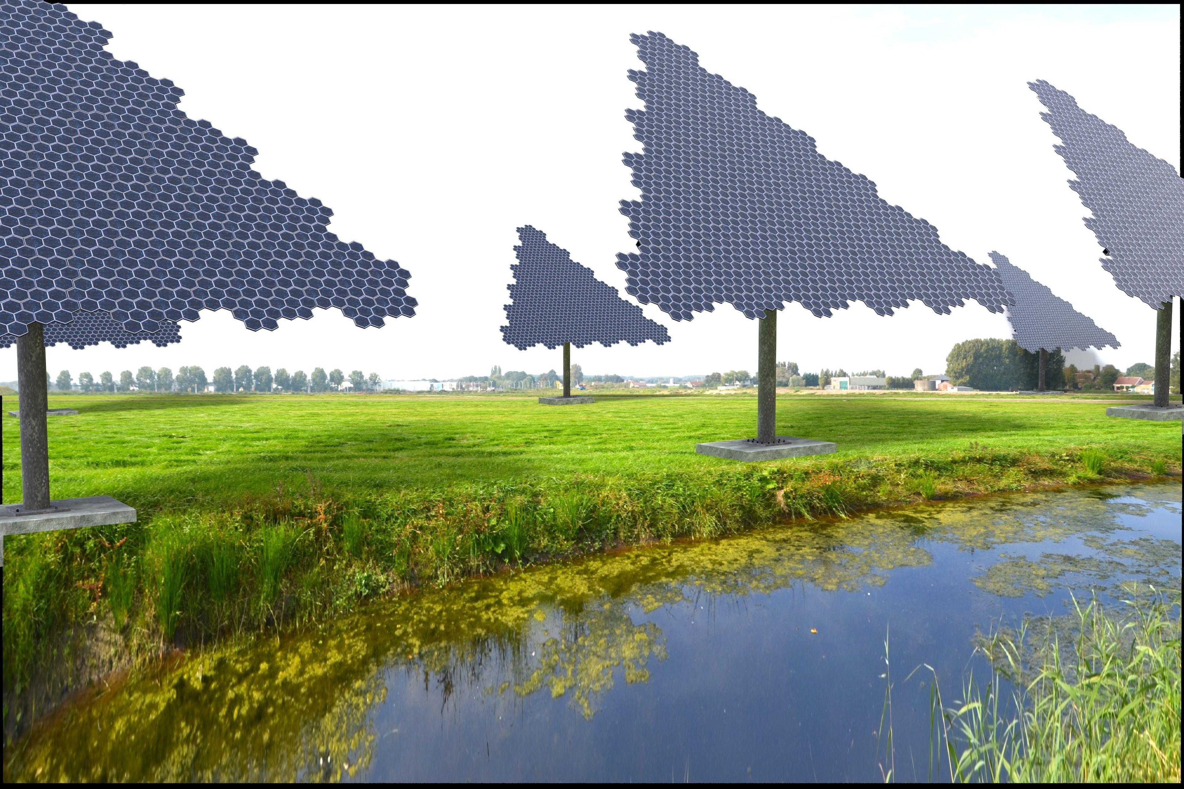 Hexagonal sun following pv solar panel array