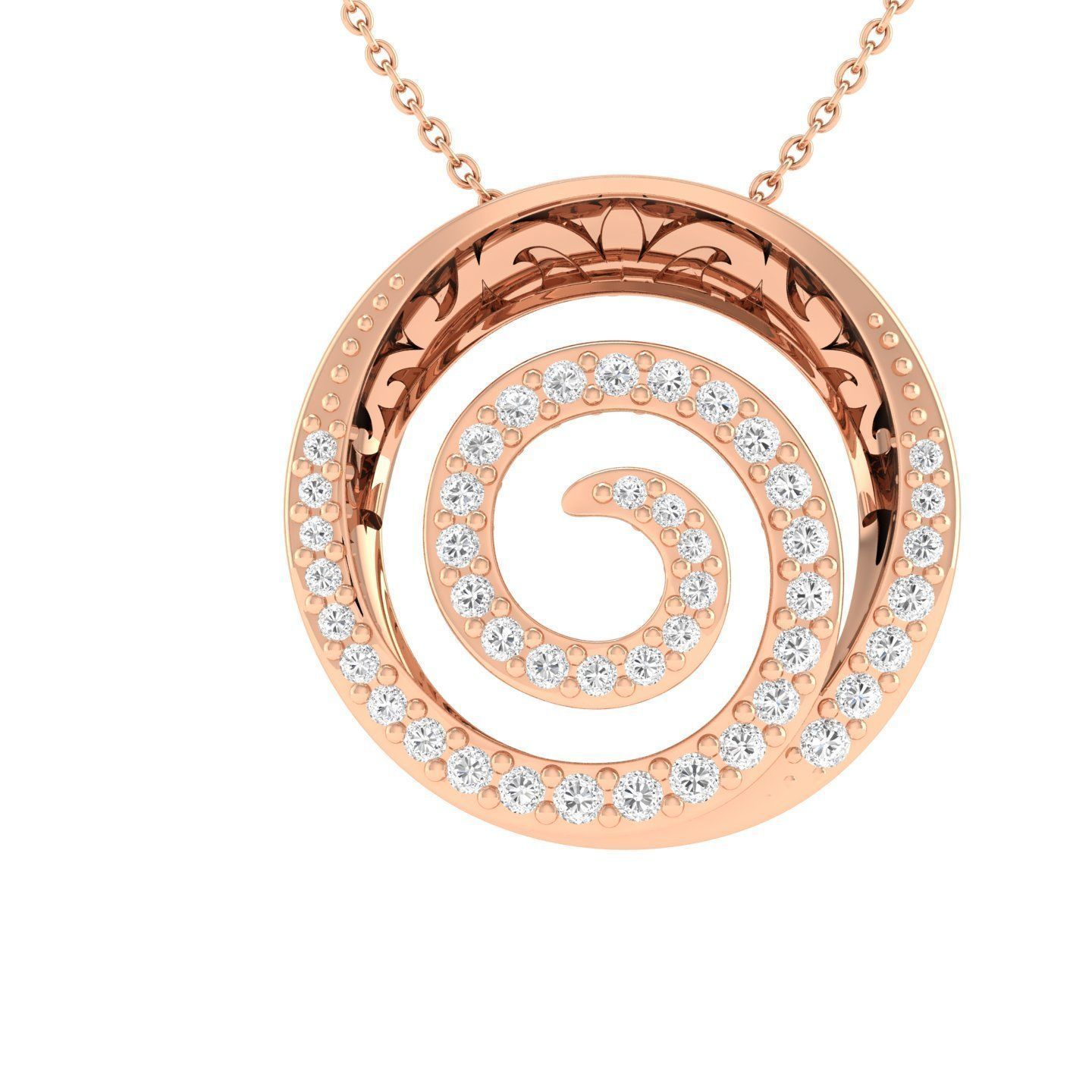 Women round pendant 3dm stl render detail