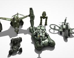 Sci-fi vehicle pack 3D Model