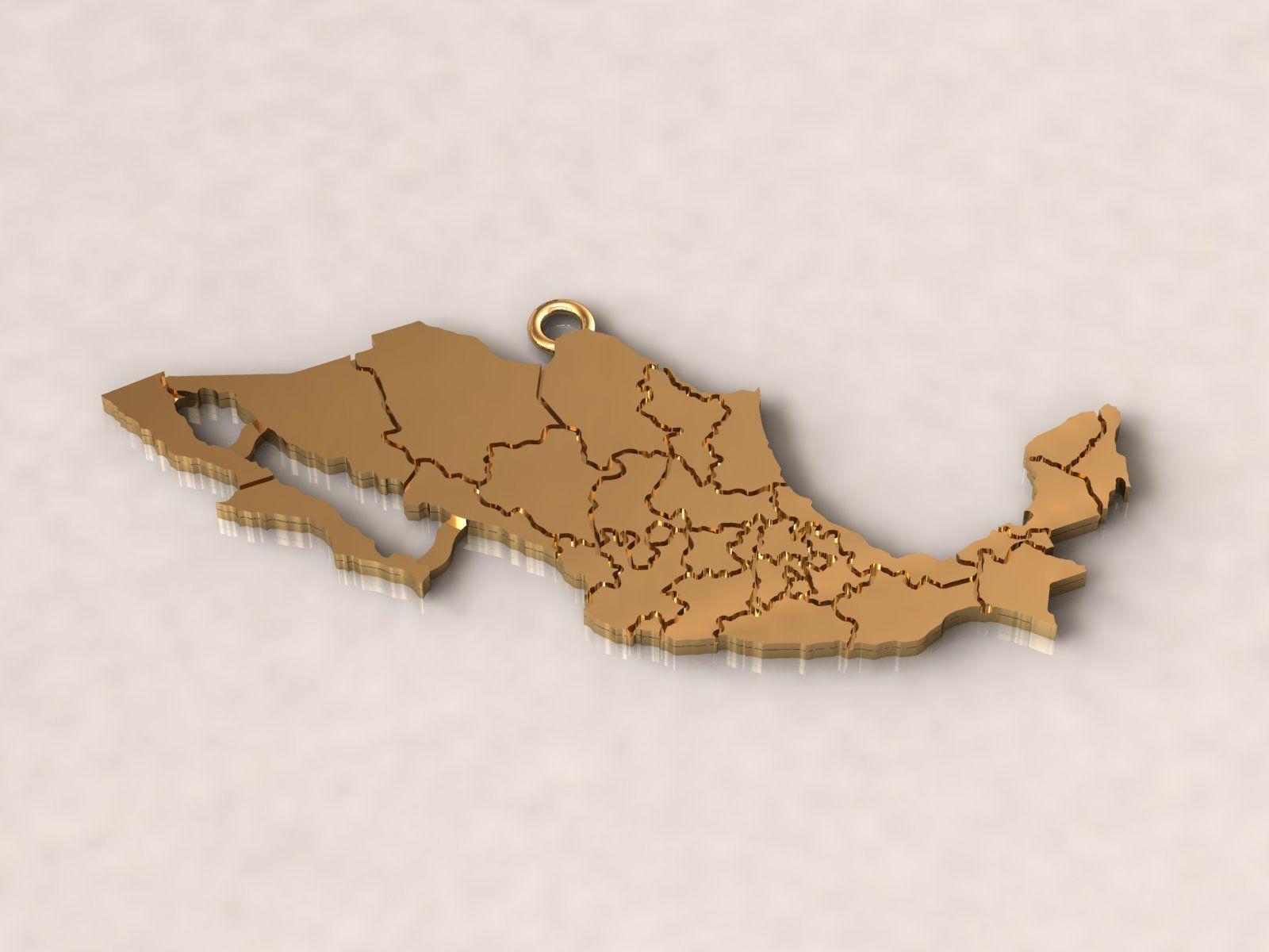 Mexico Map Charm Pendant