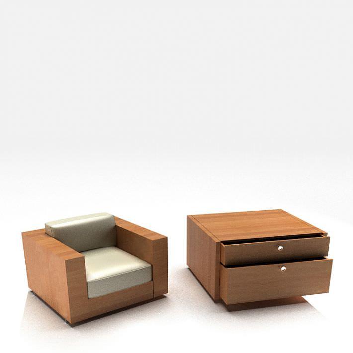 Living Room Modern Wooden Furniture 3d Model