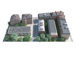 3D model Urban District Buildings A Street Trees