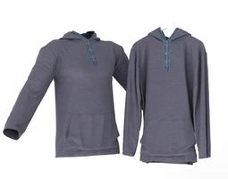 3D Pullover Hooded Blouse Blue