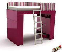 pink kids bed with ladder 3d model