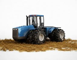 3d industrial blue tractor