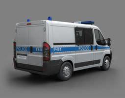3D White Police Car