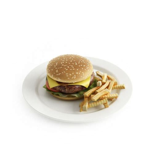 Cheeseburger with fries 3d model for Food bar 3d model