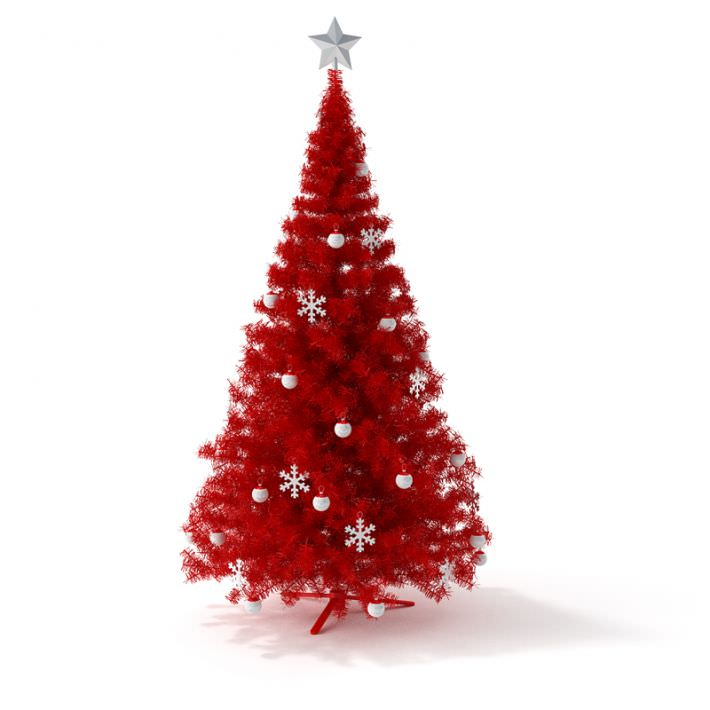 red artificial christmas tree 3d model obj 1 - Faux Christmas Trees