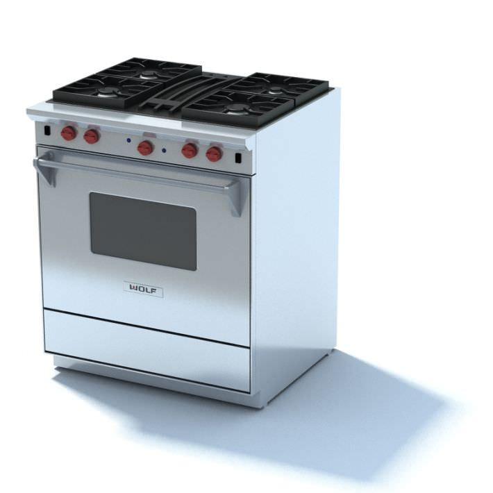 wolf gas stove. Stainless Steel Gas Stove Wolf 3d Model Max 1 E