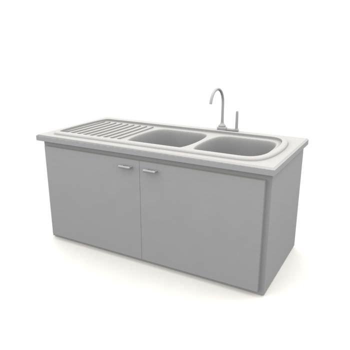 Kitchen Sink Model: Kitchen Sink With Storage 3D Model