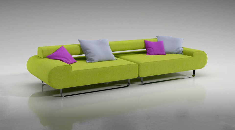 Genial Lime Green Sofa With Pillows 3D Model