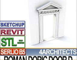 Renaissance Doric Door D Revit STL Printable 3D Model
