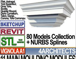 80 Architecture Moulding Modules Collection Revit STL Print 3D Model