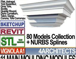 80 Architecture Moulding Modules Collection Revit STL Print 3D Model