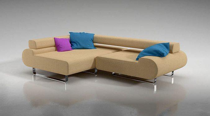 l shaped corner sofa 3d model obj mtl 1