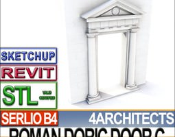 Renaissance Doric Door C Revit STL Printable 3D Model
