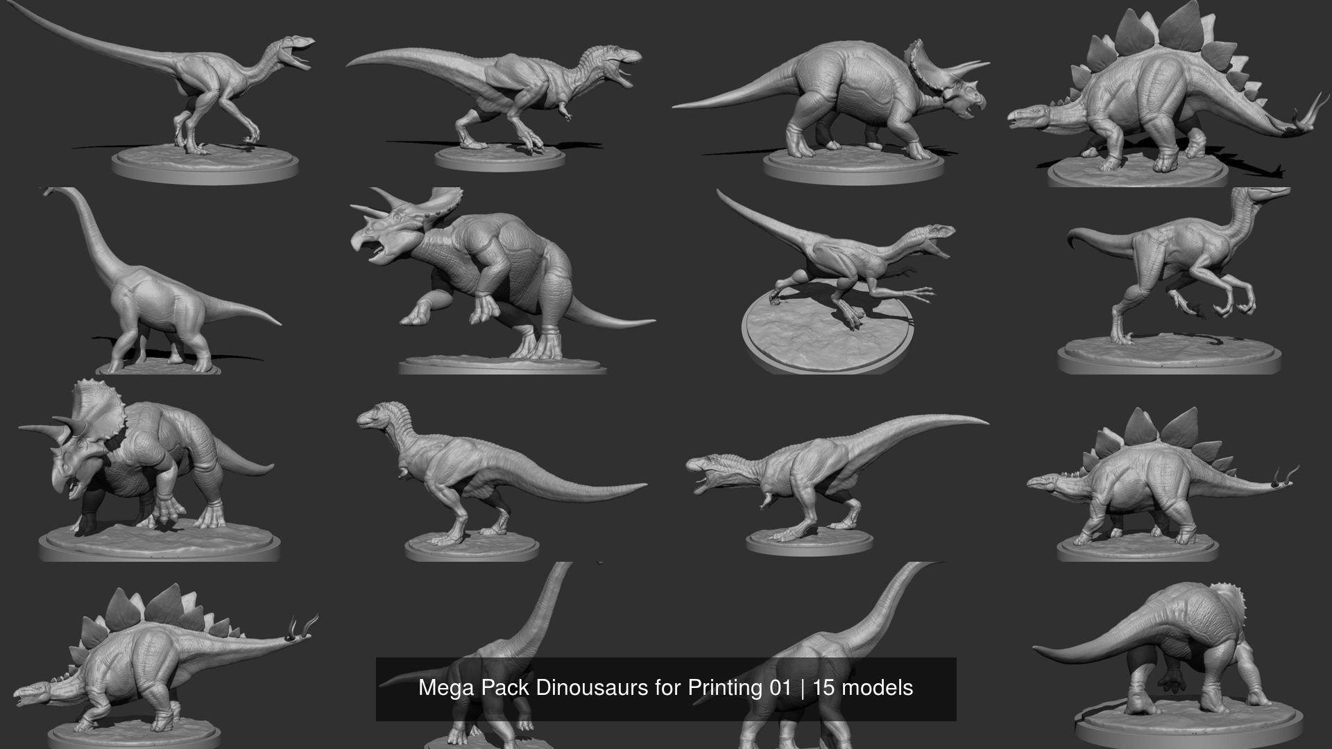 Mega Pack Dinousaurs for Printing 01