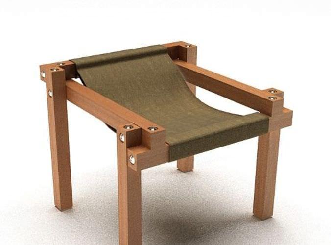 Modern Wooden Chair 3d Model
