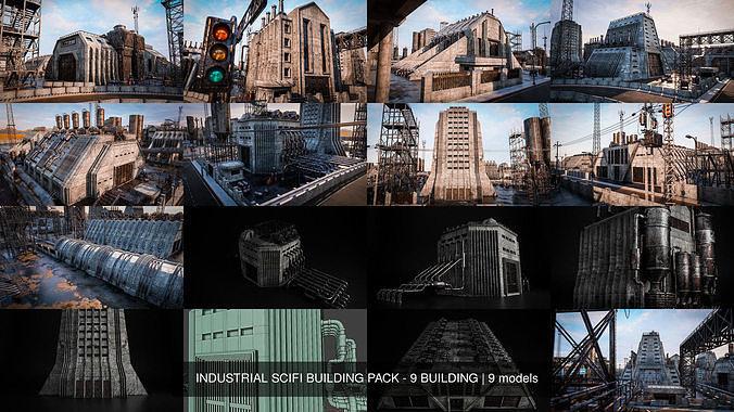 INDUSTRIAL SCIFI BUILDING PACK - 9 BUILDING