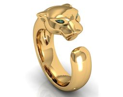 panthere emerald gold ring 3d printable model
