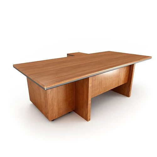 Wooden Office Table 3d Model