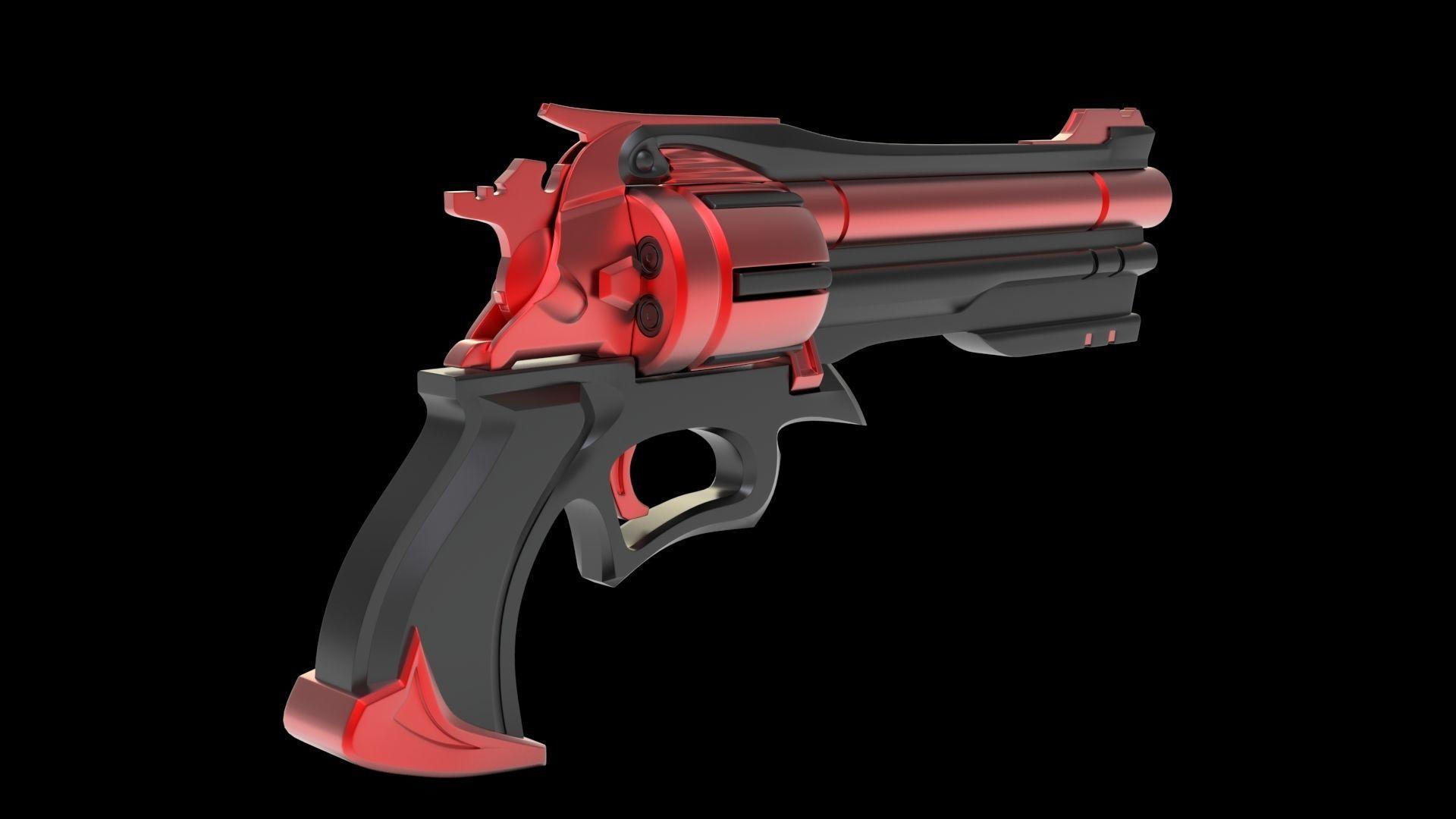 sci-fi Gun Black pistol revolver weapon