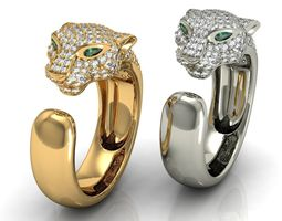 Panthere Diamond Gold Ring 3D Model